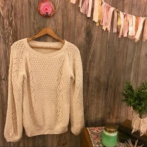 {zara} cream ivory chunky cable knitted sweater m